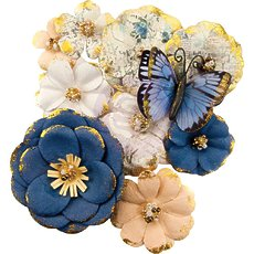 Набор бумажных цветов Mulberry Prima Marketing Georgia Blues Paper Flowers 10/Pkg