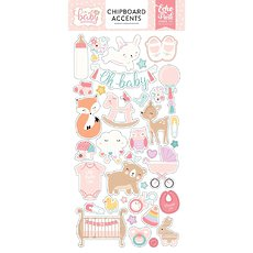"Набор чипборда Hello Baby Girl Chipboard Accents 6""X13"" Echo Park Paper"