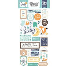 "Набор чипборда Hello Baby Boy Chipboard Phrases 6""X13"" Echo Park Paper"