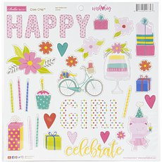 "Чипборд Wish Big Girl Chipboard Stickers 12""X12"" Bella Blvd"