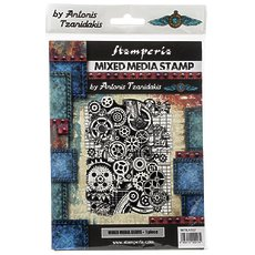 "Штамп резиновый Mixed Media Gears Stamperia Cling Stamp 5.90""X7.87"""