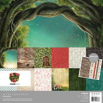 "Набор бумаги Enchanted Kaisercraft Paper Pack 12""X12"" 12/Pkg"