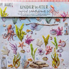 "Набор Underwater Layered Embellishments 12""X12"" 72/Pkg от 49 And Market"