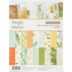 "Набор бумаги Simple Vintage Great Escape Simple Stories Double-Sided Paper Pad 6""X8"" 24/Pkg"