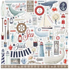 """Набор стикеров Elements By The Sea Cardstock Stickers 12""""X12"""""""