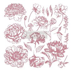 "Набор силиконовых штампов Linear Floral Prima Marketing Re-Design Decor Clear Cling Stamps 12""X12"""
